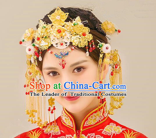 Traditional Handmade Chinese Ancient Wedding Hair Accessories Xiuhe Suit Golden Tassel Phoenix Coronet Complete Set, Bride Hanfu Hair Sticks Hair Jewellery for Women