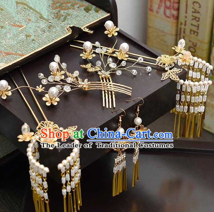 Traditional Handmade Chinese Ancient Wedding Hair Accessories Xiuhe Suit Pearls Tassel Phoenix Coronet Complete Set, Bride Hanfu Hair Sticks Hair Jewellery for Women