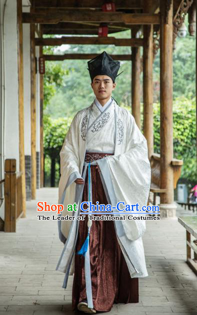 Traditional Chinese Han Dynasty Nobility Childe Hanfu Cloak Long Robe Costume, China Ancient Scholar Embroidery Brown Clothing for Men