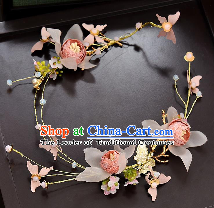 Top Grade Handmade Chinese Classical Hair Accessories Baroque Style Wedding Pink Flowers Garland Hair Clasp Headband Bride Headwear for Women