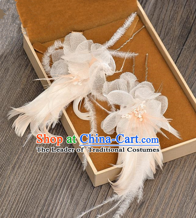 Top Grade Handmade Chinese Classical Hair Accessories Baroque Style Wedding Pink Feather Hairpins Hair Claw Headband Bride Headwear for Women