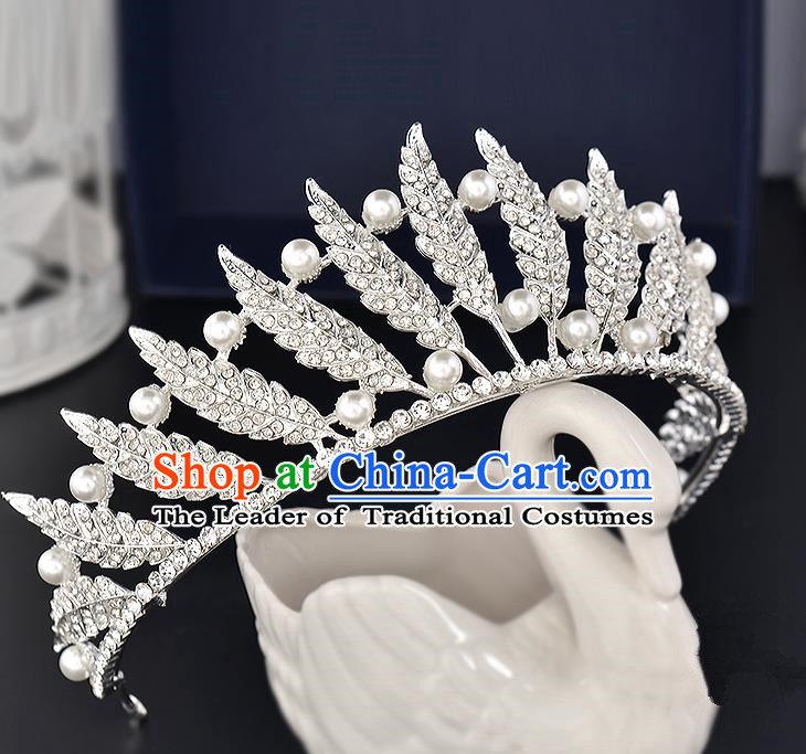 Top Grade Handmade Hair Accessories Baroque Style Wedding Crystal Leaf White Pearls Royal Crown, Bride Princess Hair Kether Jewellery Hair Clasp for Women