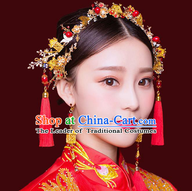 Traditional Handmade Chinese Ancient Wedding Hair Accessories Xiuhe Suit Red Tassel Phoenix Coronet Complete Set, Bride Hanfu Hair Sticks Hair Jewellery for Women