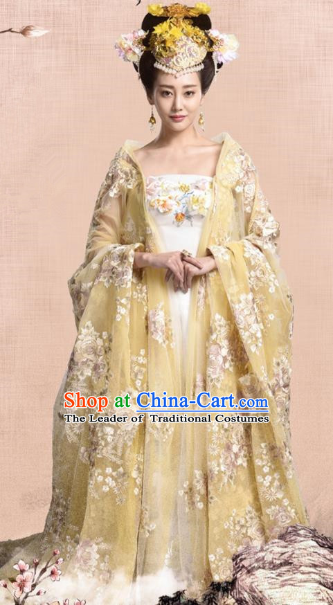 082b6b7fd Traditional Chinese Tang Dynasty Imperial Empress Embroidery Costume and Headpiece  Complete Set, Once Upon a Time Chinese Ancient Palace Lady Hanfu Dress ...