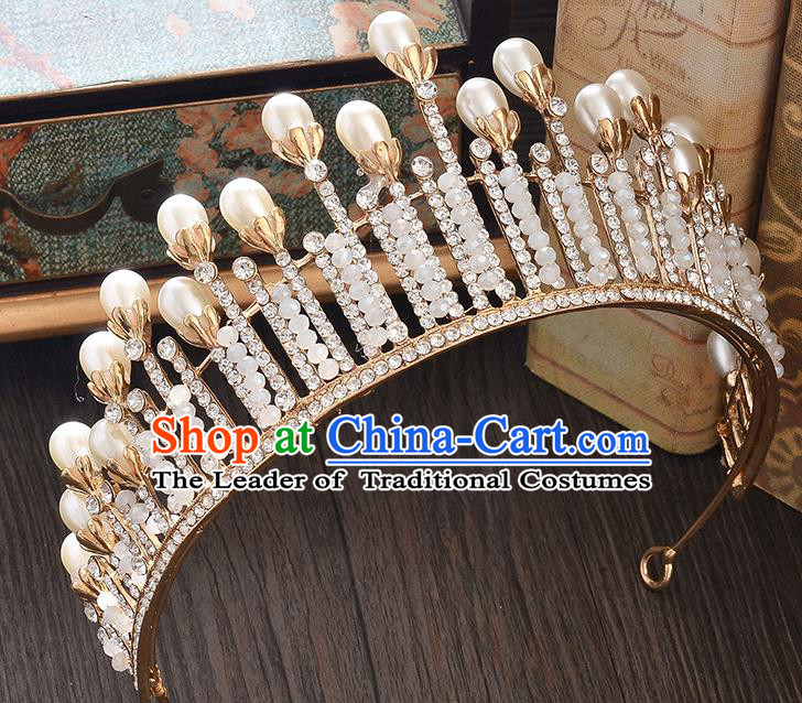 Top Grade Handmade Hair Accessories Baroque Style Wedding Crystal Golden Pearls Royal Crown, Bride Princess Hair Kether Jewellery Imperial Crown for Women