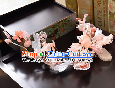 Top Grade Handmade Chinese Classical Hair Accessories Princess Wedding Pink Flowers Hair Clasp Headband Bride Headwear for Women