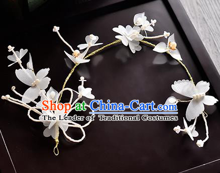 Top Grade Handmade Chinese Classical Hair Accessories Princess Wedding White Flowers Butterfly Hair Clasp Headband Bride Headwear for Women