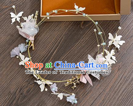 Top Grade Handmade Chinese Classical Hair Accessories Princess Wedding Butterfly Flowers Hair Clasp Headband Bride Headwear for Women