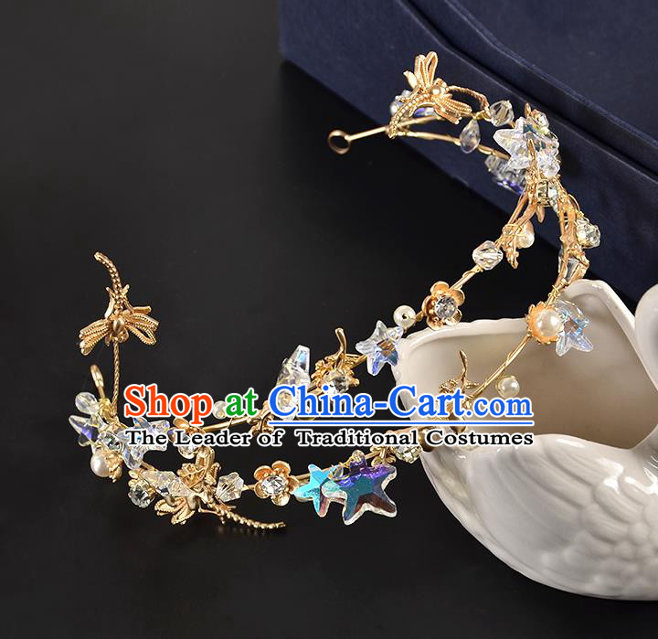 Top Grade Handmade Hair Accessories Baroque Style Wedding Crystal Star Dragonfly Royal Crown, Bride Princess Hair Kether Jewellery Imperial Crown for Women