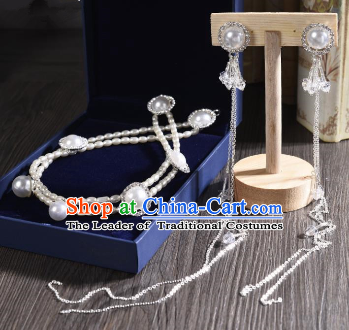 Top Grade Handmade Chinese Classical Jewelry Accessories Princess Wedding Pearls Earrings and Necklace Bride Eardrop for Women
