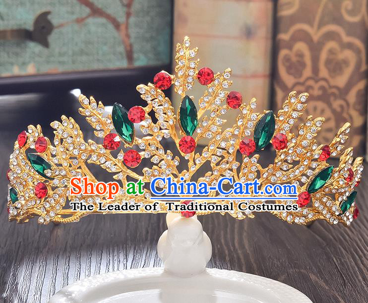 Top Grade Handmade Hair Accessories Baroque Style Wedding Green Crystal Royal Crown, Bride Princess Hair Kether Jewellery Imperial Crown for Women