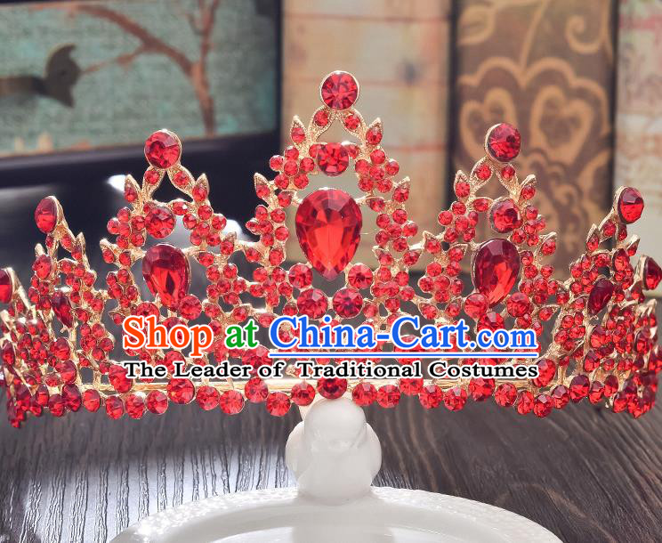 Top Grade Handmade Hair Accessories Baroque Style Wedding Crystal Red Royal Crown, Bride Princess Hair Kether Jewellery Imperial Crown for Women