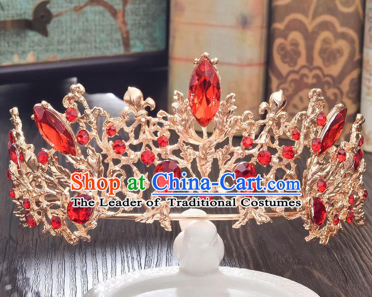 Top Grade Handmade Hair Accessories Baroque Style Wedding Red Crystal Golden Royal Crown, Bride Princess Hair Kether Jewellery Imperial Crown for Women
