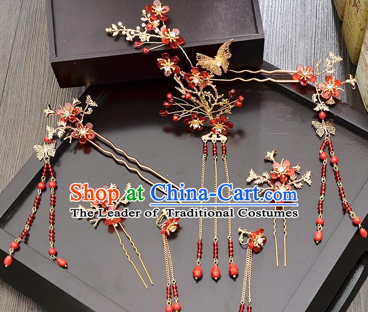 Traditional Handmade Chinese Ancient Wedding Hair Accessories Xiuhe Suit Butterfly Flower Phoenix Coronet Complete Set, Bride Tassel Step Shake Hanfu Hairpins Hair Sticks Hair Jewellery for Women
