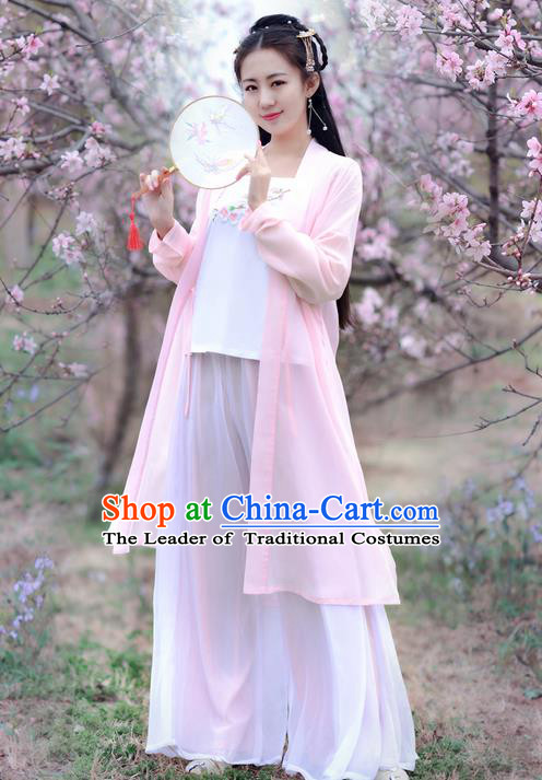 Traditional Ancient Chinese Costume Song Dynasty Embroidery Peach Blossom Blouse and Pants, Elegant Hanfu Clothing Chinese Princess Costume for Women