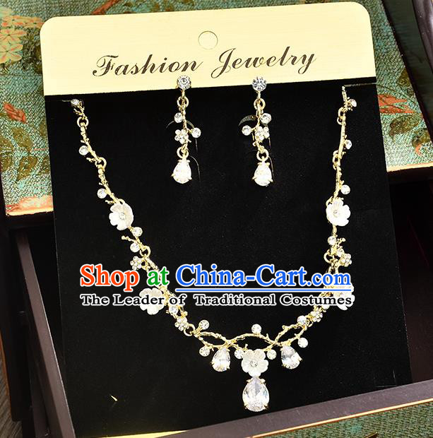 Top Grade Handmade Chinese Classical Jewelry Accessories Princess Wedding Crystal Royal Earrings and Necklace Bride Eardrop for Women