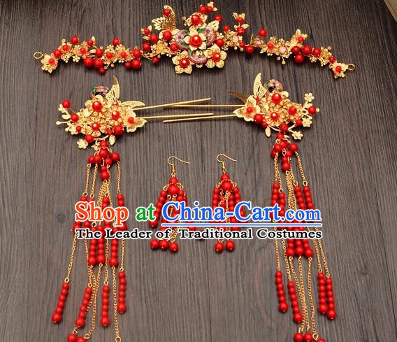 Traditional Handmade Chinese Ancient Wedding Hair Accessories Xiuhe Suit Red Beads Phoenix Coronet Complete Set, Bride Tassel Step Shake Hanfu Hairpins Hair Sticks Hair Jewellery for Women