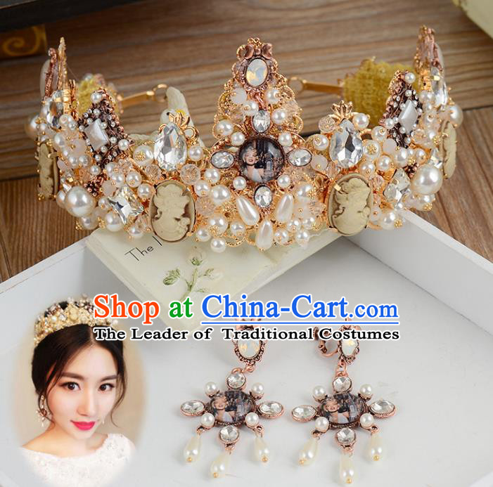 Top Grade Handmade Hair Accessories Baroque Style Palace Princess Wedding Crystal Vintage Royal Crown and Earrings, Bride Hair Kether Jewellery Imperial Crown for Women