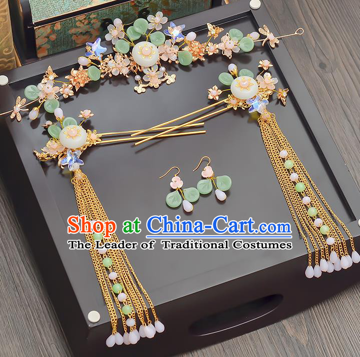 Traditional Handmade Chinese Ancient Wedding Hair Accessories Xiuhe Suit Jade Phoenix Coronet Complete Set, Bride Tassel Step Shake Hanfu Hairpins Hair Sticks Hair Jewellery for Women