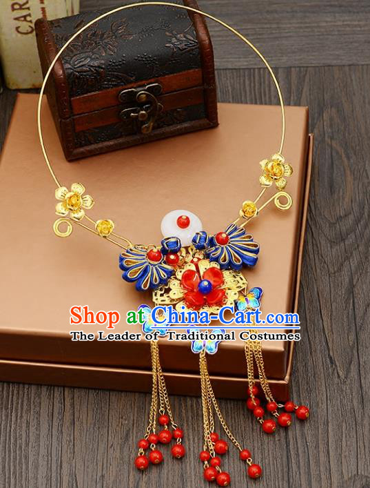 Top Grade Handmade Chinese Classical Jewelry Accessories Xiuhe Suit Wedding Blueing Butterfly Tassel Necklace Bride Hanfu Necklet for Women