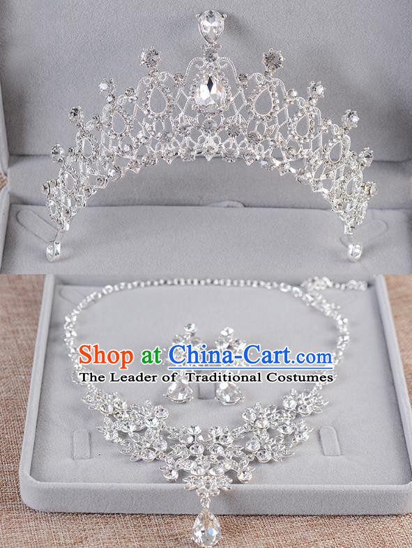 Top Grade Handmade Chinese Classical Jewelry Accessories Queen Wedding Crystal Royal Crown Earrings and Necklace Bride Ornaments for Women