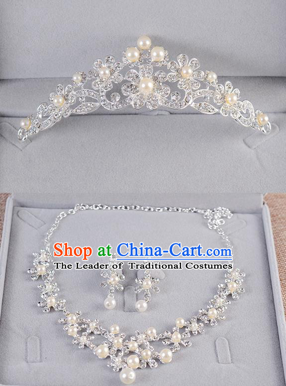 Top Grade Handmade Chinese Classical Jewelry Accessories Queen Wedding Crystal Pearls Royal Crown Tassel Earrings and Necklace Bride Ornaments for Women
