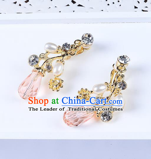 Top Grade Handmade Chinese Classical Jewelry Accessories Queen Wedding Pink Crystal Pearls Tassel Earrings Bride Eardrop for Women