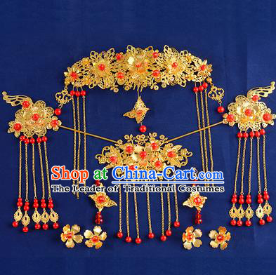 Traditional Handmade Chinese Ancient Wedding Hair Accessories Xiuhe Suit Tassel Phoenix Coronet Hairpins Complete Set, Bride Step Shake Hanfu Hair Fascinators for Women