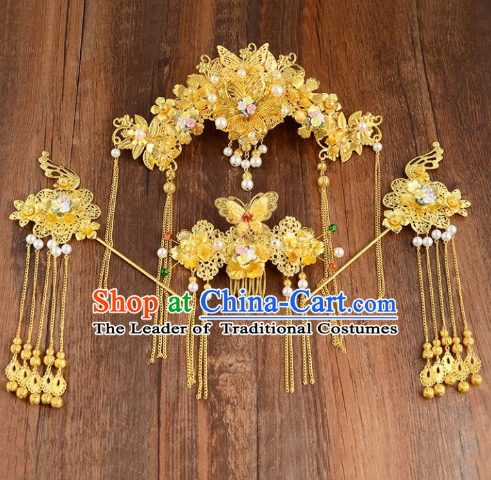 Traditional Handmade Chinese Ancient Wedding Hair Accessories Xiuhe Suit Pearls Phoenix Coronet Complete Set, Bride Tassel Step Shake Hanfu Hair Fascinators for Women