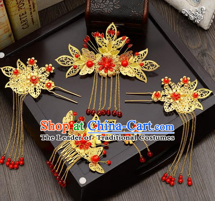 Traditional Handmade Chinese Ancient Wedding Hair Accessories Xiuhe Suit Butterfly Hair Comb Complete Set, Bride Tassel Step Shake Hanfu Hair Fascinators for Women