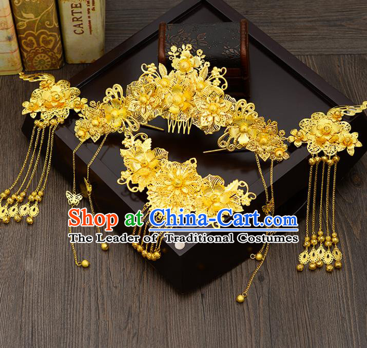 Traditional Handmade Chinese Ancient Wedding Hair Accessories Xiuhe Suit Golden Phoenix Coronet Hair Comb Complete Set, Bride Step Shake Hanfu Hair Fascinators for Women
