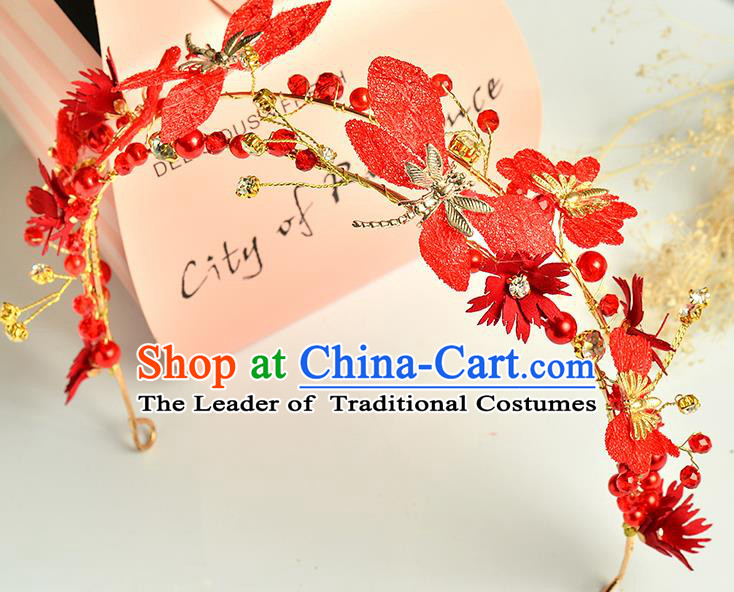 Top Grade Handmade Chinese Classical Hair Accessories Princess Wedding Red Flowers Dragonfly Hair Clasp Headband Bride Headwear for Women