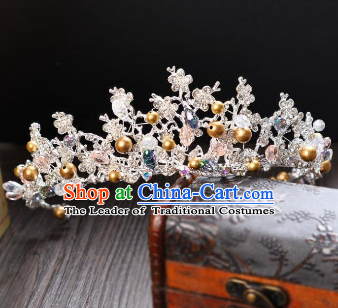 Top Grade Handmade Hair Accessories Baroque Style Palace Princess Wedding Golden Beads Vintage Royal Crown, Bride Hair Kether Jewellery Imperial Crown for Women