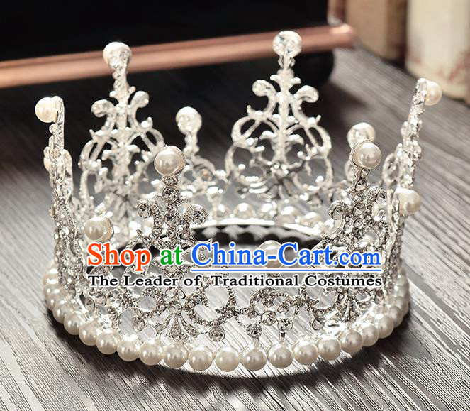 Top Grade Handmade Hair Accessories Baroque Style Palace Princess Wedding Crystal Pearls Vintage Round Royal Crown, Bride Hair Kether Jewellery Imperial Crown for Women