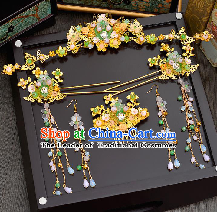 Traditional Handmade Chinese Ancient Wedding Hair Accessories Xiuhe Suit Green Jade Forehead Ornament Complete Set, Bride Tassel Step Shake Hanfu Hair Fascinators for Women