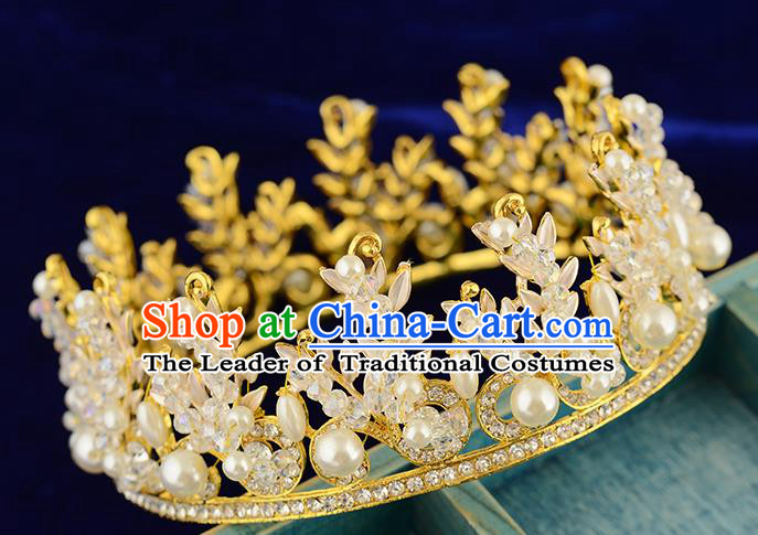 Top Grade Handmade Hair Accessories Baroque Style Wedding Pearls Crystal Golden Royal Crown, Bride Princess Hair Kether Jewellery Round Imperial Crown for Women