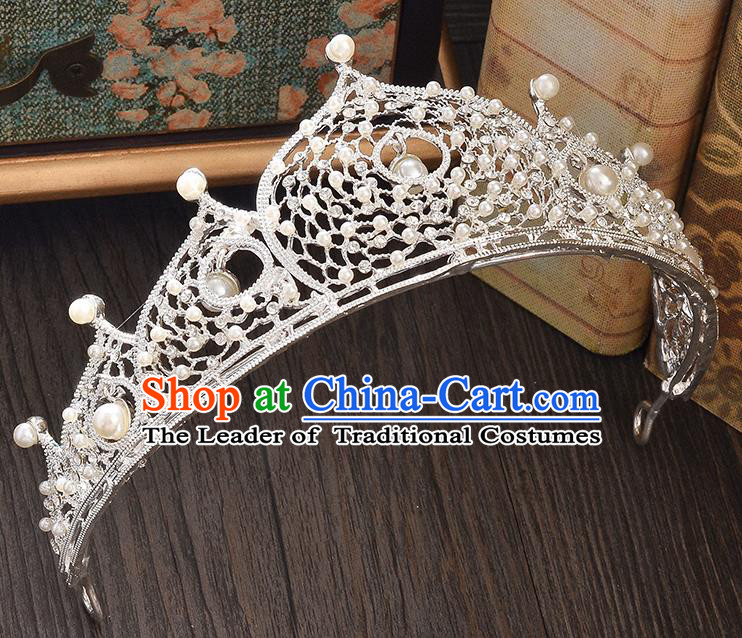Top Grade Handmade Hair Accessories Baroque Style Wedding Princess Full Dress Crystal Pearls Royal Crown, Bride Toast Hair Kether Jewellery Imperial Crown for Women