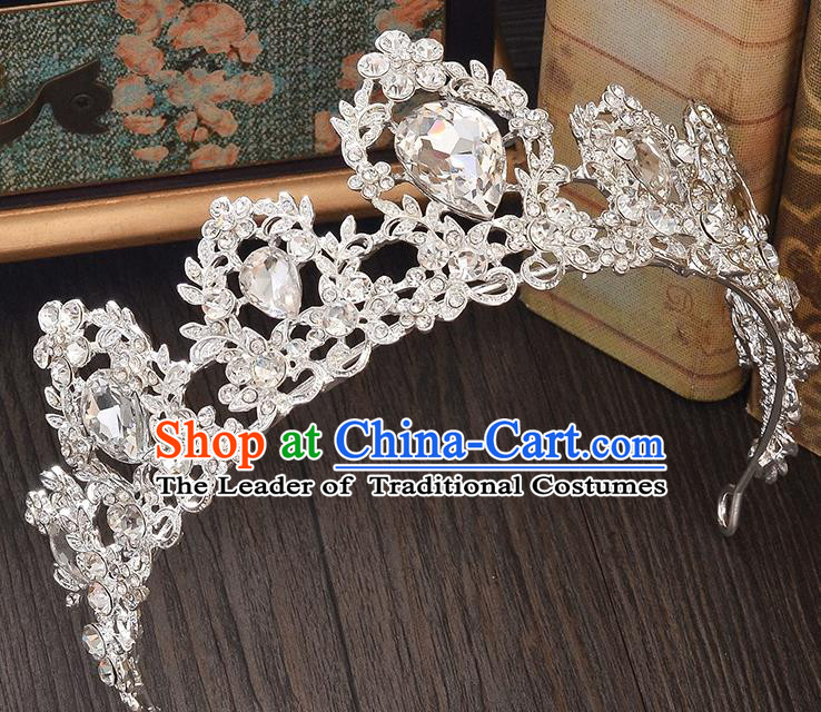 Top Grade Handmade Hair Accessories Baroque Style Wedding Princess Full Dress Crystal Royal Crown, Bride Toast Hair Kether Jewellery Imperial Crown for Women