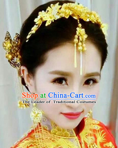Traditional Handmade Chinese Ancient Wedding Hair Accessories Xiuhe Suit Golden Hairpins Complete Set, Bride Tassel Step Shake Hanfu Hair Sticks Hair Comb for Women