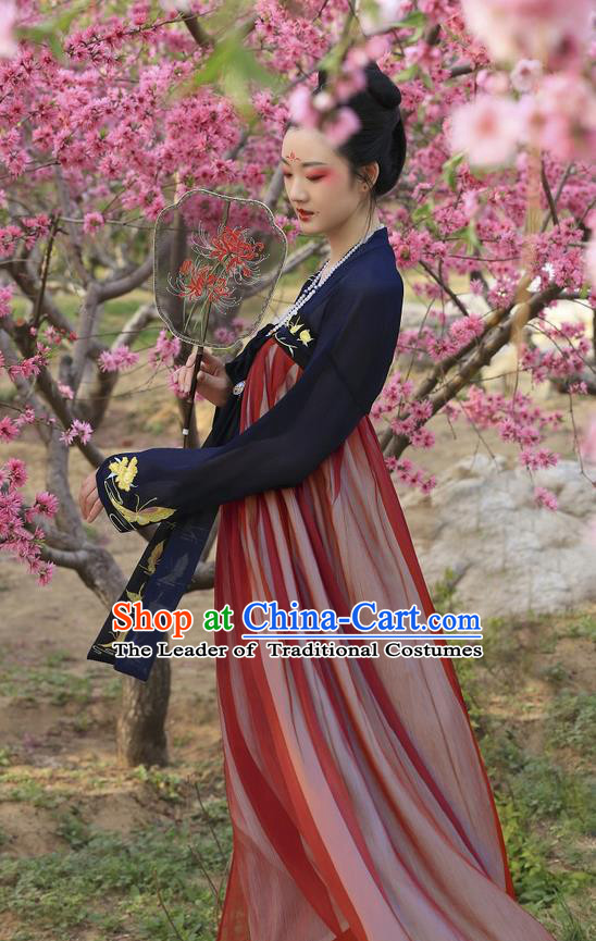 Traditional Ancient Chinese Costume Tang Dynasty Imperial Concubine Embroidery Butterfly Blouse and Slip Skirt, Elegant Hanfu Clothing Chinese Imperial Consort Costume for Women