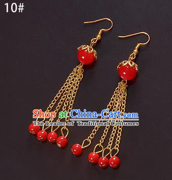 Top Grade Handmade Chinese Classical Jewelry Accessories Xiuhe Suit Wedding Ancient Costume Red Beads Tassel Earrings Bride Hanfu Eardrop for Women