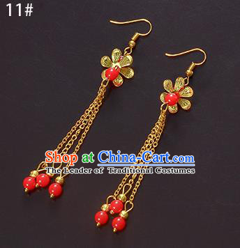 Top Grade Handmade Chinese Classical Jewelry Accessories Xiuhe Suit Wedding Ancient Costume Golden Tassel Earrings Bride Hanfu Eardrop for Women