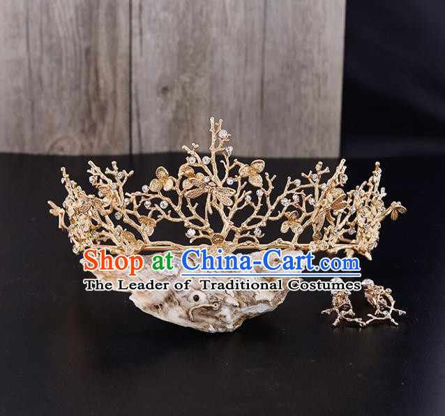 Top Grade Handmade Hair Accessories Baroque Style Wedding Princess Golden Royal Crown, Bride Hair Kether Jewellery Round Imperial Crown for Women