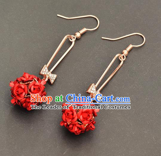 Top Grade Handmade Chinese Classical Jewelry Accessories Xiuhe Suit Wedding Red Rose Flower Tassel Earrings Bride Hanfu Eardrop for Women