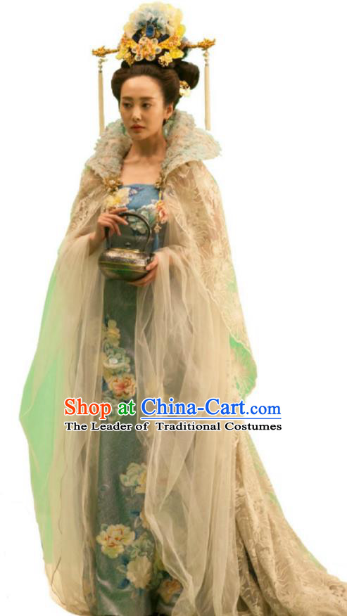 Traditional Chinese Tang Dynasty Imperial Concubine Embroidery Costume and Headpiece Complete Set, Once Upon a Time Chinese Ancient Imperial Empress Hanfu Dress for Women