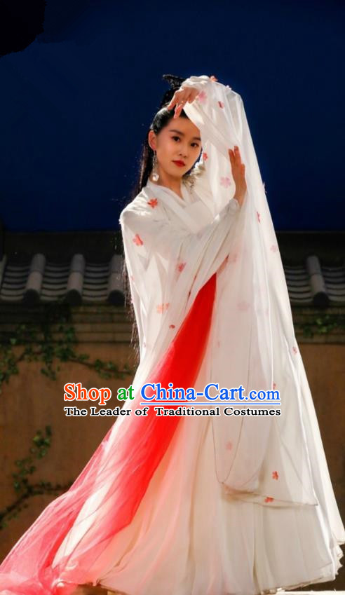 Traditional Chinese Han Dynasty Imperial Princess Embroidery Costume and Headpiece Complete Set, Lost Love In Times Chinese Ancient Saintess Fairy Hanfu Dress for Women