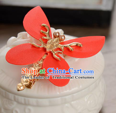 Top Grade Handmade Chinese Classical Hair Accessories Princess Wedding Red Dragonfly Hair Stick Hair Claw Bride Headwear for Women