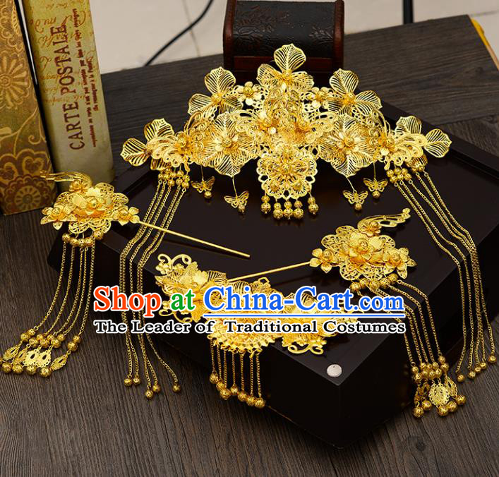 Traditional Handmade Chinese Ancient Wedding Hair Accessories Xiuhe Suit Golden Forehead Ornament Complete Set, Bride Palace Lady Step Shake Hanfu Hairpins for Women