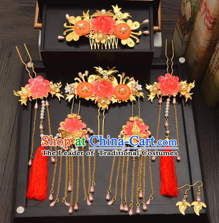 Traditional Handmade Chinese Ancient Wedding Hair Accessories Complete Set Xiuhe Suit Pearls Tassel Phoenix Coronet, Bride Palace Lady Step Shake Hanfu Hairpins for Women