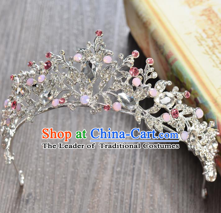 Top Grade Handmade Hair Accessories Baroque Luxury Crystal Pink Opal Royal Crown, Bride Wedding Hair Kether Jewellery Princess Imperial Crown for Women